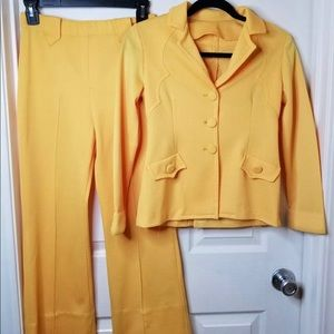 Vintage 70s Western Yellow Suit Homemade XS